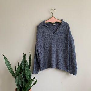 J. Jill Chenille Gray Blue Speckled Knit Pullover